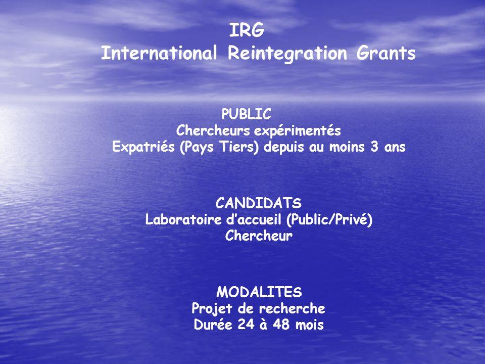 IRG International Reintegration Grants PUBLIC Chercheurs expérimentés Expatriés (Pays Tiers) depuis au moins 3 ans CANDIDATS Laboratoire daccueil (Pub