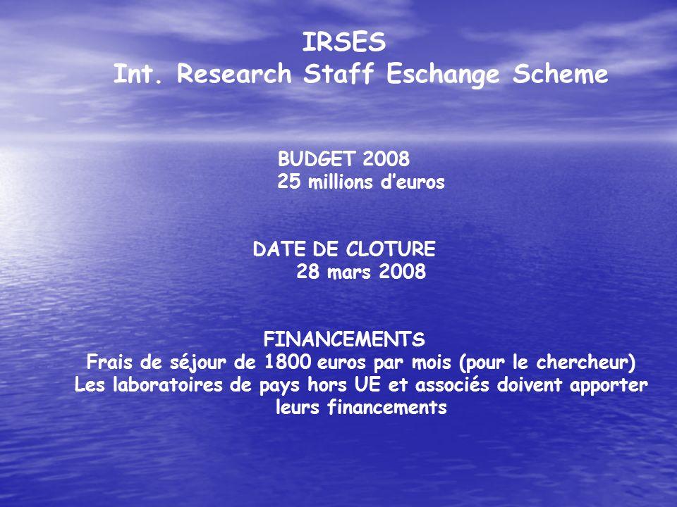 IRSES Int. Research Staff Eschange Scheme BUDGET 2008 25 millions deuros DATE DE CLOTURE 28 mars 2008 FINANCEMENTS Frais de séjour de 1800 euros par m