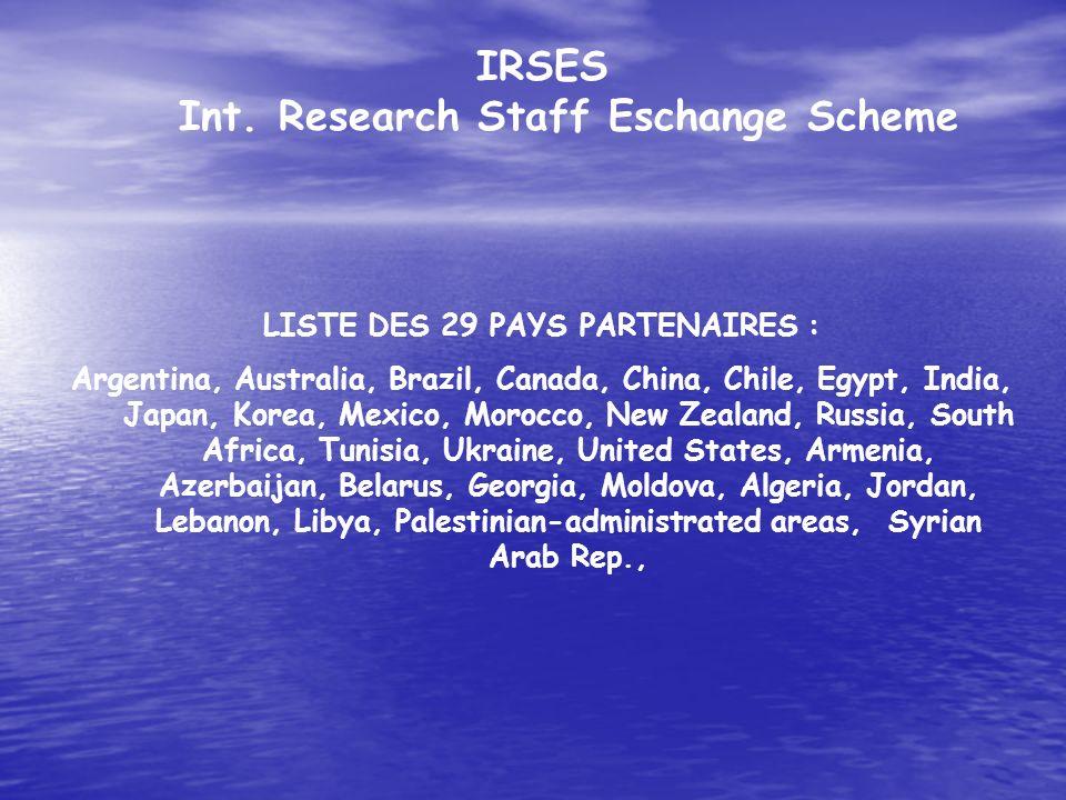 IRSES Int. Research Staff Eschange Scheme LISTE DES 29 PAYS PARTENAIRES : Argentina, Australia, Brazil, Canada, China, Chile, Egypt, India, Japan, Kor