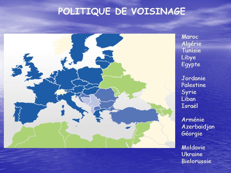 POLITIQUE DE VOISINAGE Maroc Algérie Tunisie Libye Egypte Jordanie Palestine Syrie Liban Israël Arménie Azerbaidjan Géorgie Moldavie Ukraine Bieloruss
