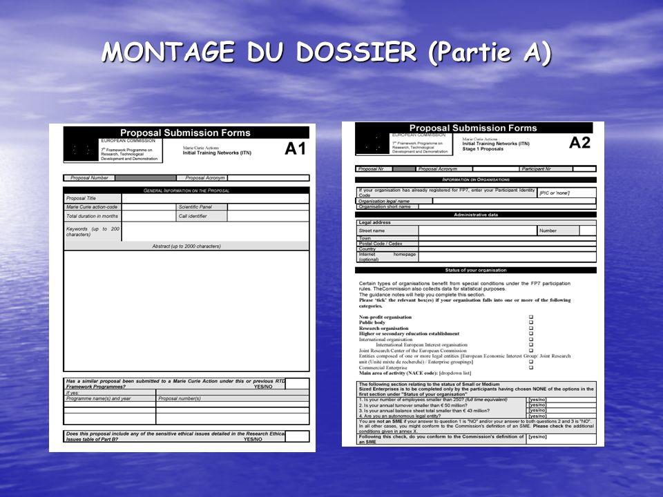 MONTAGE DU DOSSIER (Partie A)