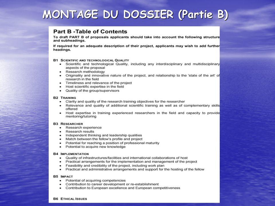 MONTAGE DU DOSSIER (Partie B)