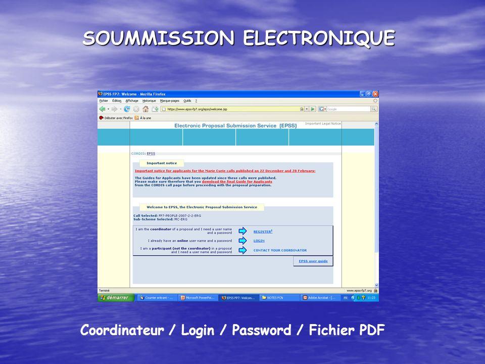 SOUMMISSION ELECTRONIQUE Coordinateur / Login / Password / Fichier PDF