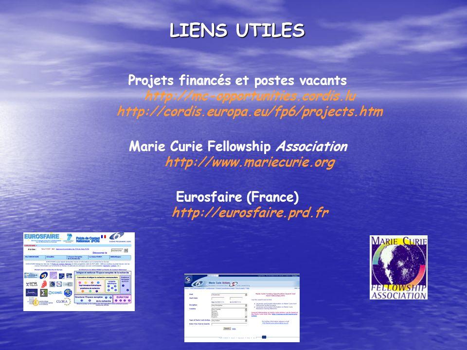 LIENS UTILES Projets financés et postes vacants http://mc-opportunities.cordis.lu http://cordis.europa.eu/fp6/projects.htm Marie Curie Fellowship Asso