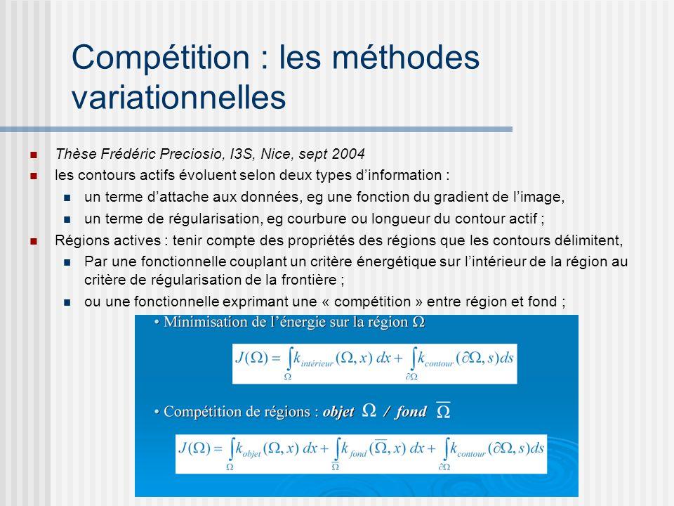 Compétition : les méthodes variationnelles Thèse Frédéric Preciosio, I3S, Nice, sept 2004 les contours actifs évoluent selon deux types dinformation :