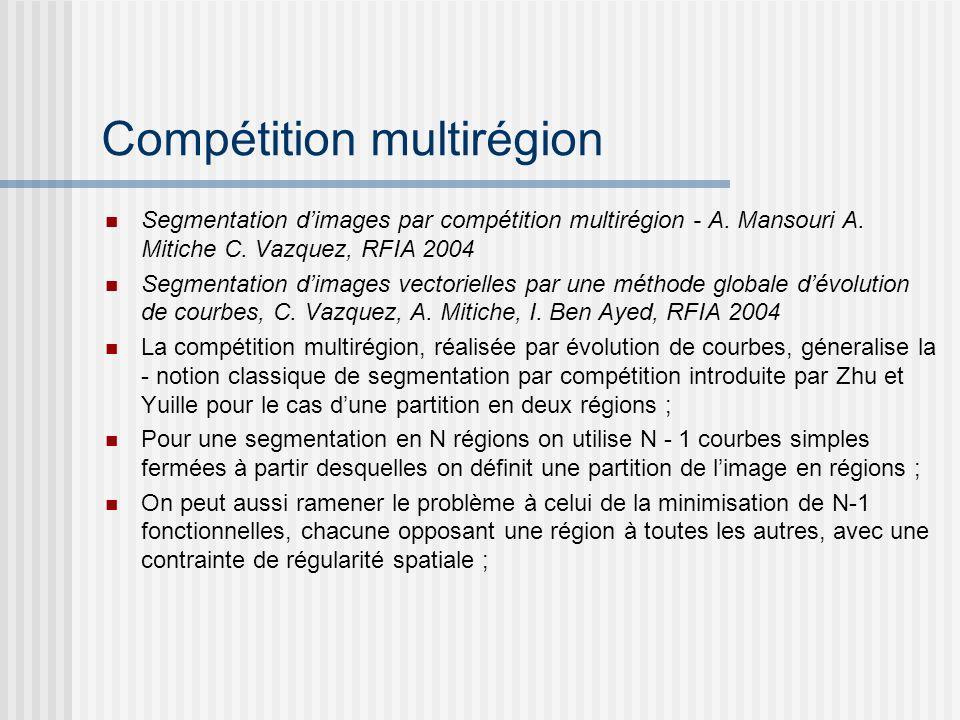 Compétition multirégion Segmentation dimages par compétition multirégion - A. Mansouri A. Mitiche C. Vazquez, RFIA 2004 Segmentation dimages vectoriel