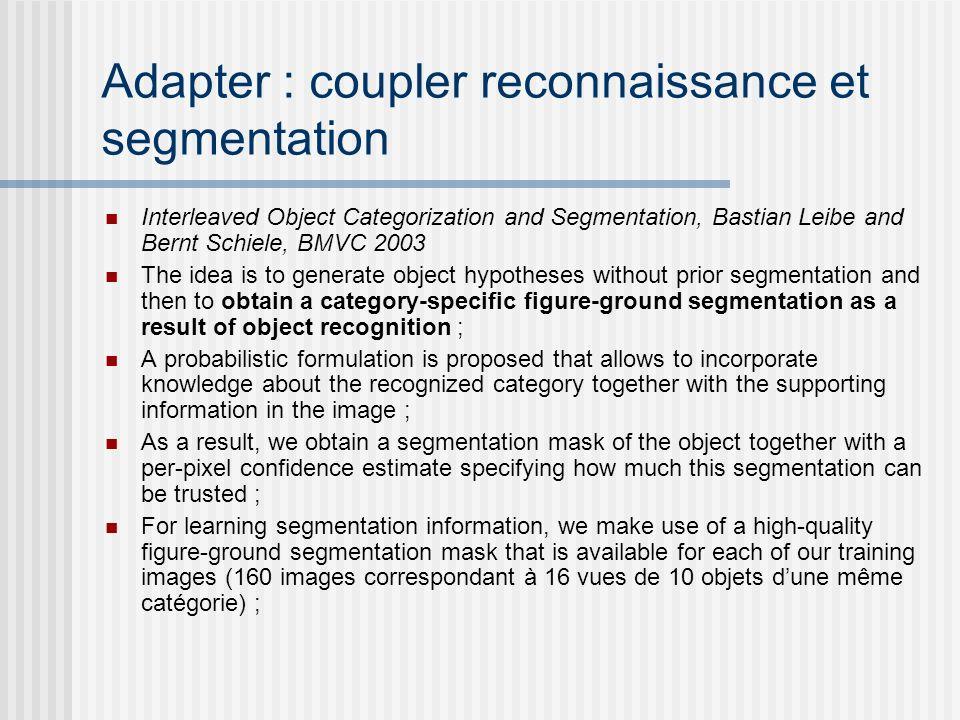 Adapter : coupler reconnaissance et segmentation Interleaved Object Categorization and Segmentation, Bastian Leibe and Bernt Schiele, BMVC 2003 The id