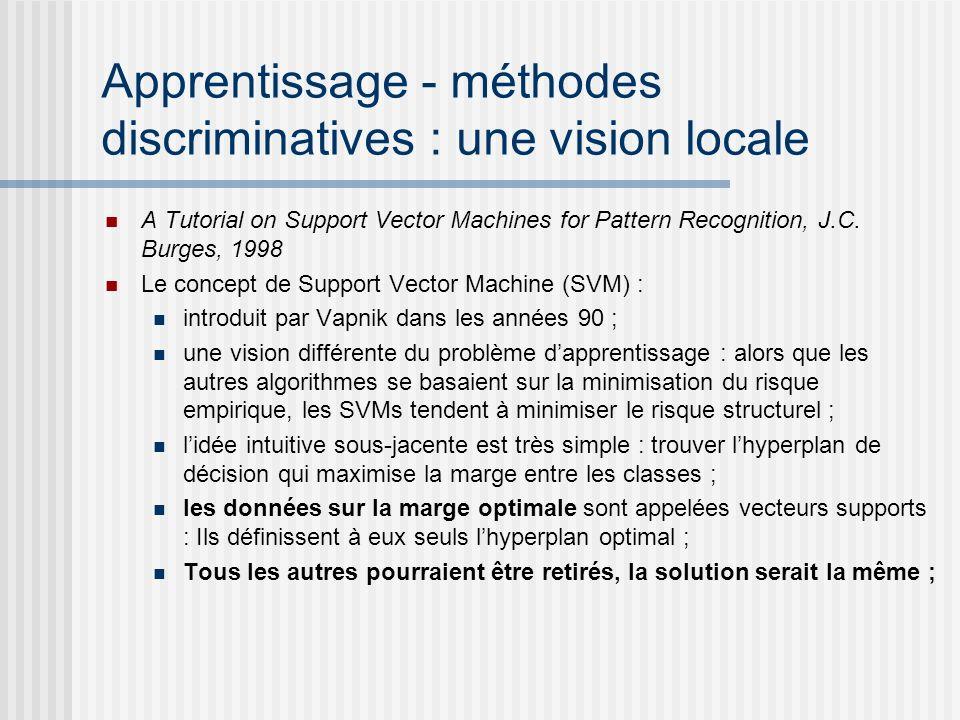 Apprentissage - méthodes discriminatives : une vision locale A Tutorial on Support Vector Machines for Pattern Recognition, J.C. Burges, 1998 Le conce