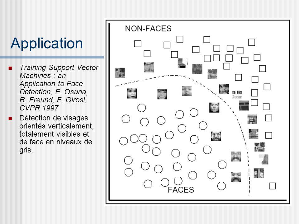 Application Training Support Vector Machines : an Application to Face Detection, E. Osuna, R. Freund, F. Girosi, CVPR 1997 Détection de visages orient
