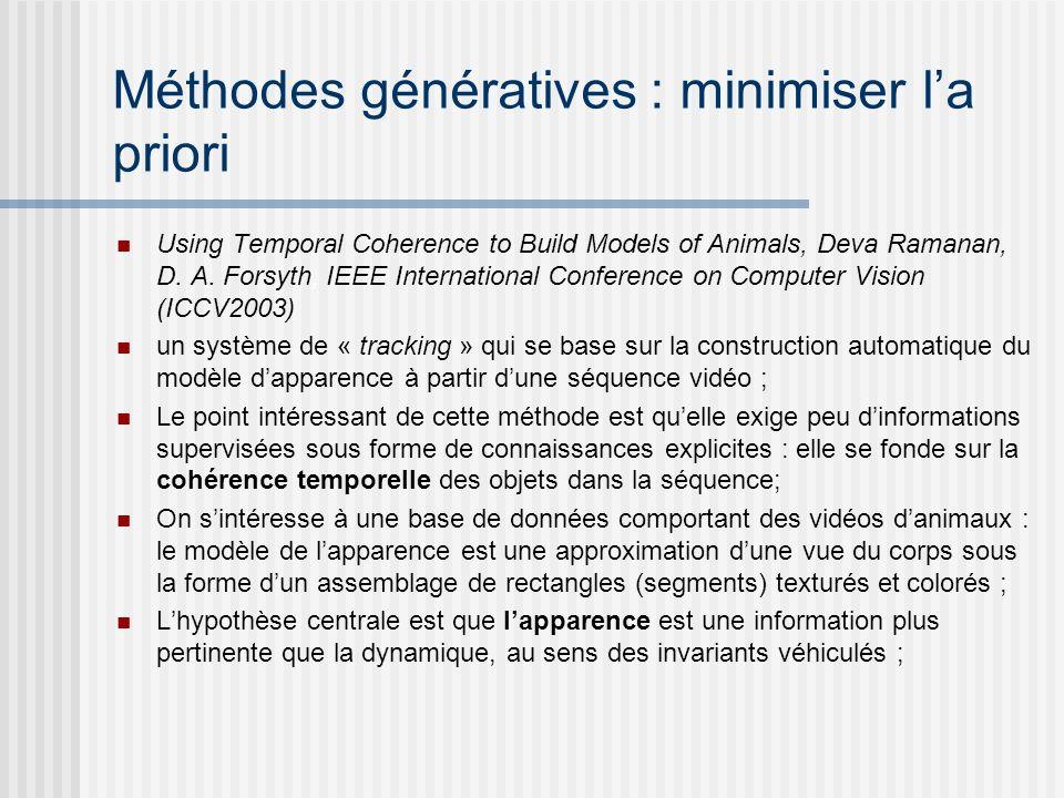 Méthodes génératives : minimiser la priori Using Temporal Coherence to Build Models of Animals, Deva Ramanan, D. A. Forsyth, IEEE International Confer
