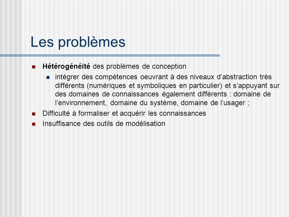 Les problèmes Hétérogénéité des problèmes de conception intégrer des compétences oeuvrant à des niveaux dabstraction très différents (numériques et sy
