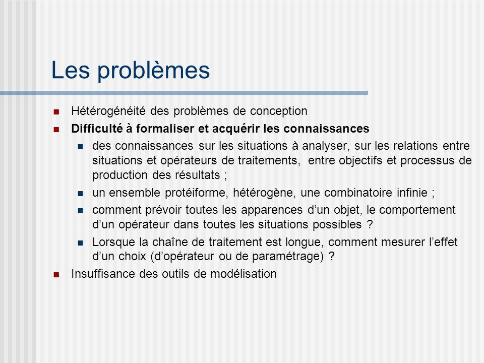 Les problèmes Hétérogénéité des problèmes de conception Difficulté à formaliser et acquérir les connaissances des connaissances sur les situations à a