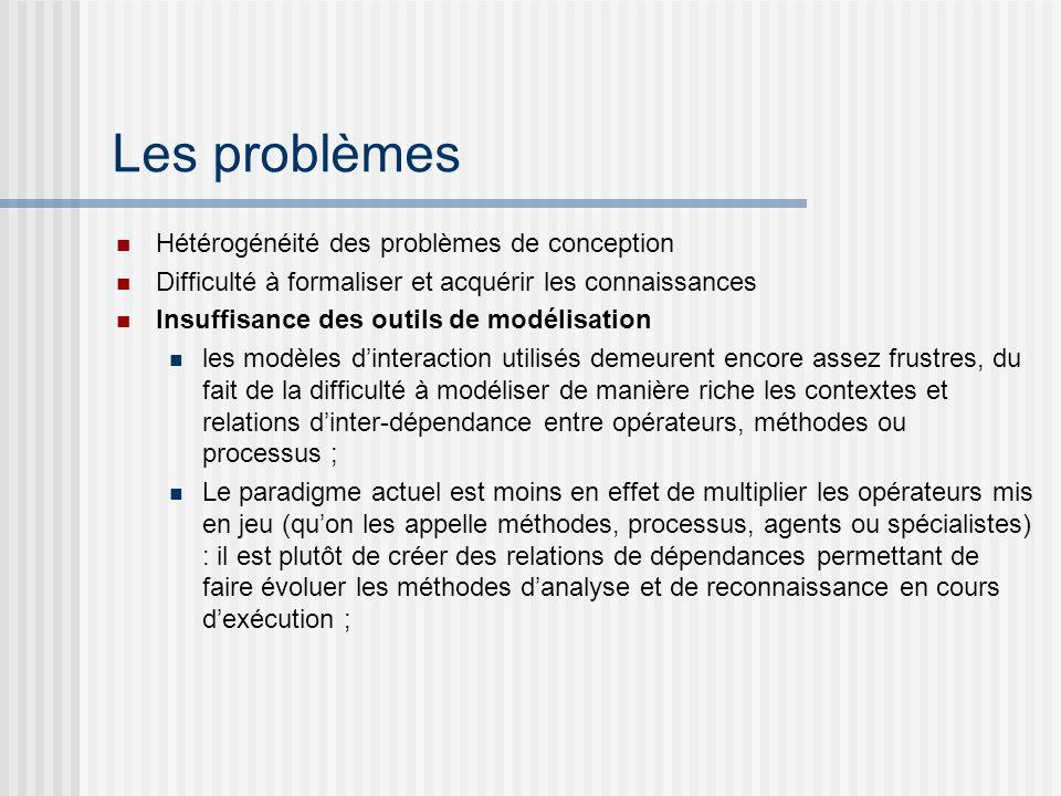 Les problèmes Hétérogénéité des problèmes de conception Difficulté à formaliser et acquérir les connaissances Insuffisance des outils de modélisation
