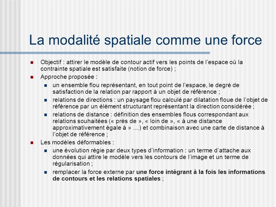 La modalité spatiale comme une force Objectif : attirer le modèle de contour actif vers les points de lespace où la contrainte spatiale est satisfaite