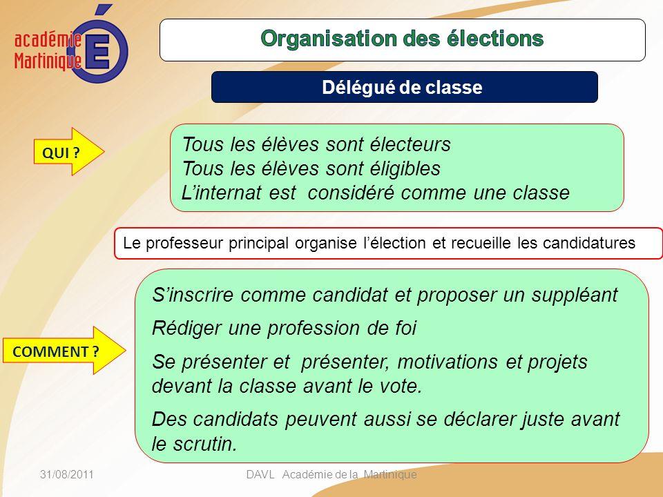 31/08/2011DAVL Académie de la Martinique Tous les élèves sont électeurs Tous les élèves sont éligibles Linternat est considéré comme une classe Sinscr