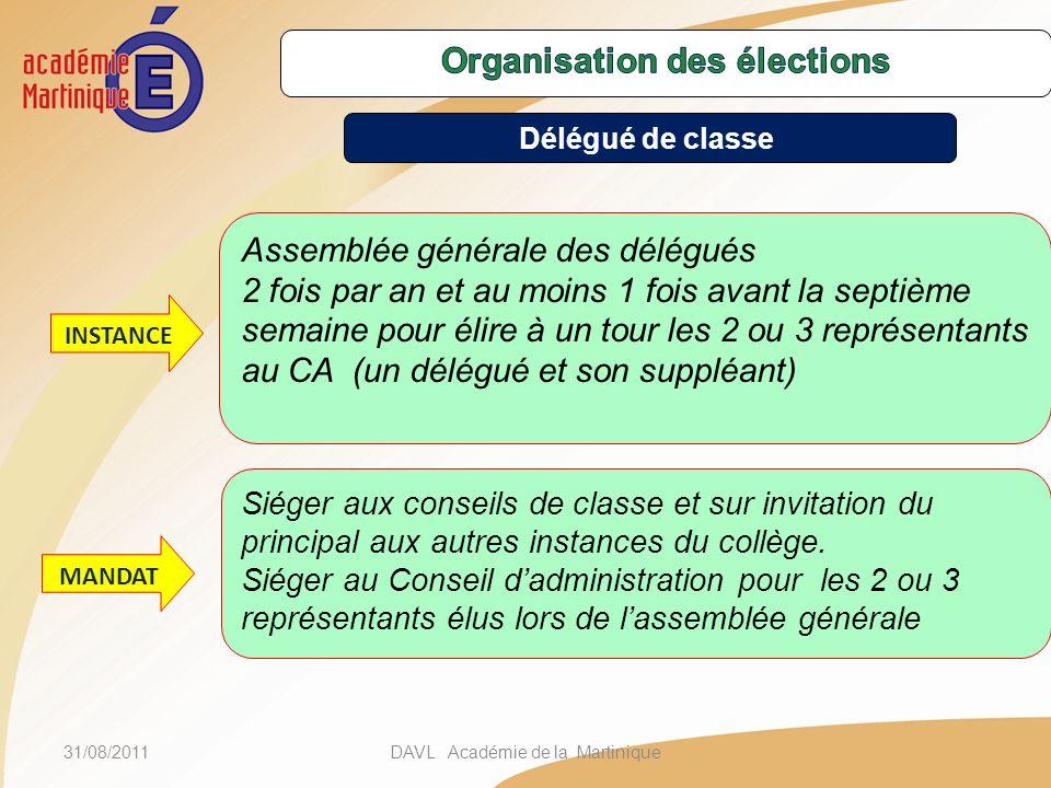 31/08/2011DAVL Académie de la Martinique Assemblée générale des délégués 2 fois par an et au moins 1 fois avant la septième semaine pour élire à un to