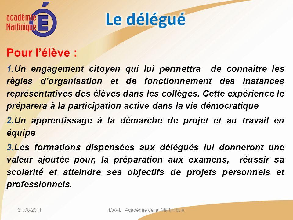 Pour lélève : 1.Un engagement citoyen qui lui permettra de connaitre les règles dorganisation et de fonctionnement des instances représentatives des é