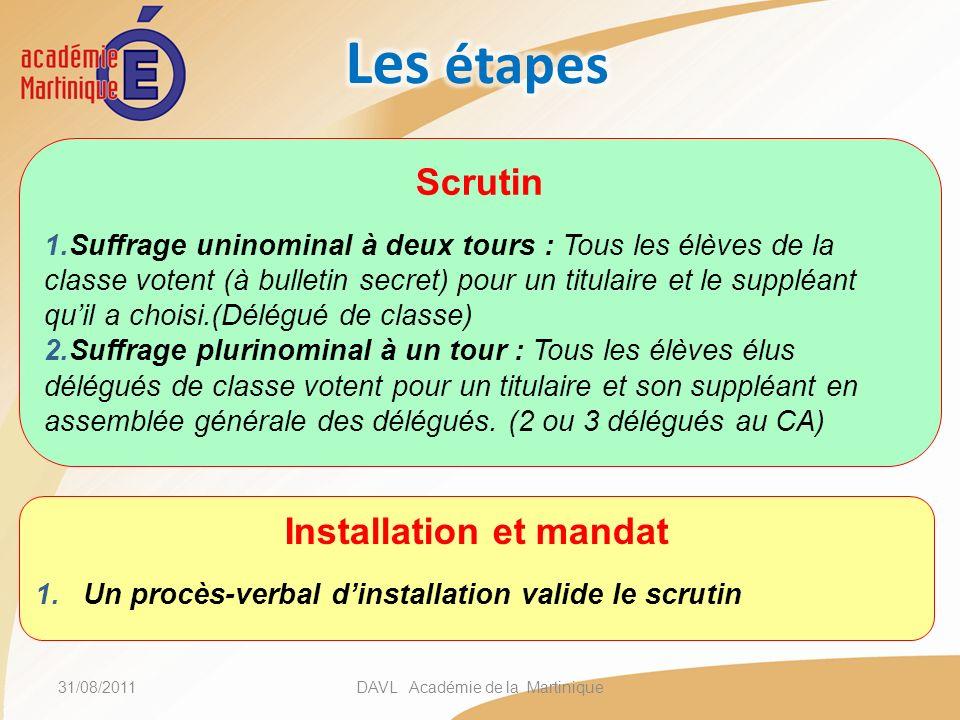 31/08/2011DAVL Académie de la Martinique Installation et mandat 1.Un procès-verbal dinstallation valide le scrutin Scrutin 1.Suffrage uninominal à deu