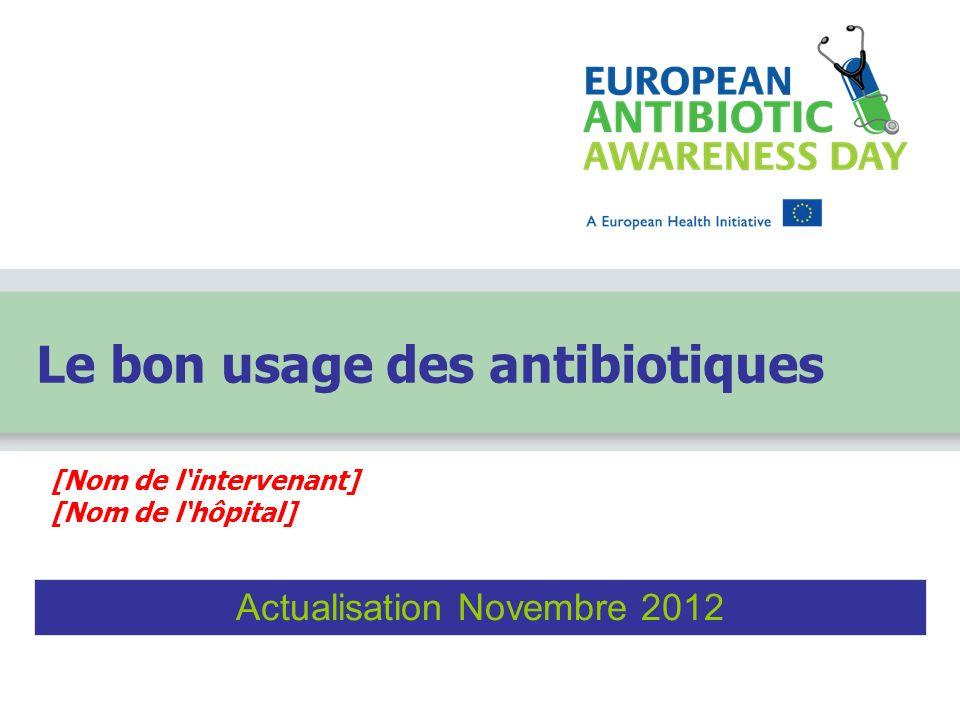 [Nom de lintervenant] [Nom de lhôpital] Le bon usage des antibiotiques Actualisation Novembre 2012
