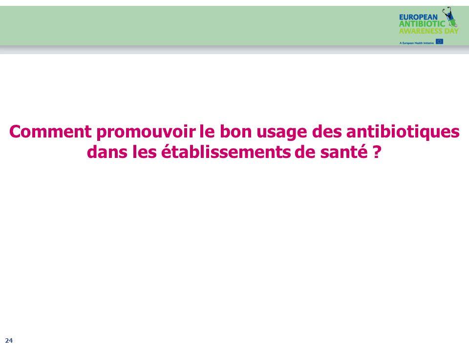 Comment promouvoir le bon usage des antibiotiques dans les établissements de santé ? 24