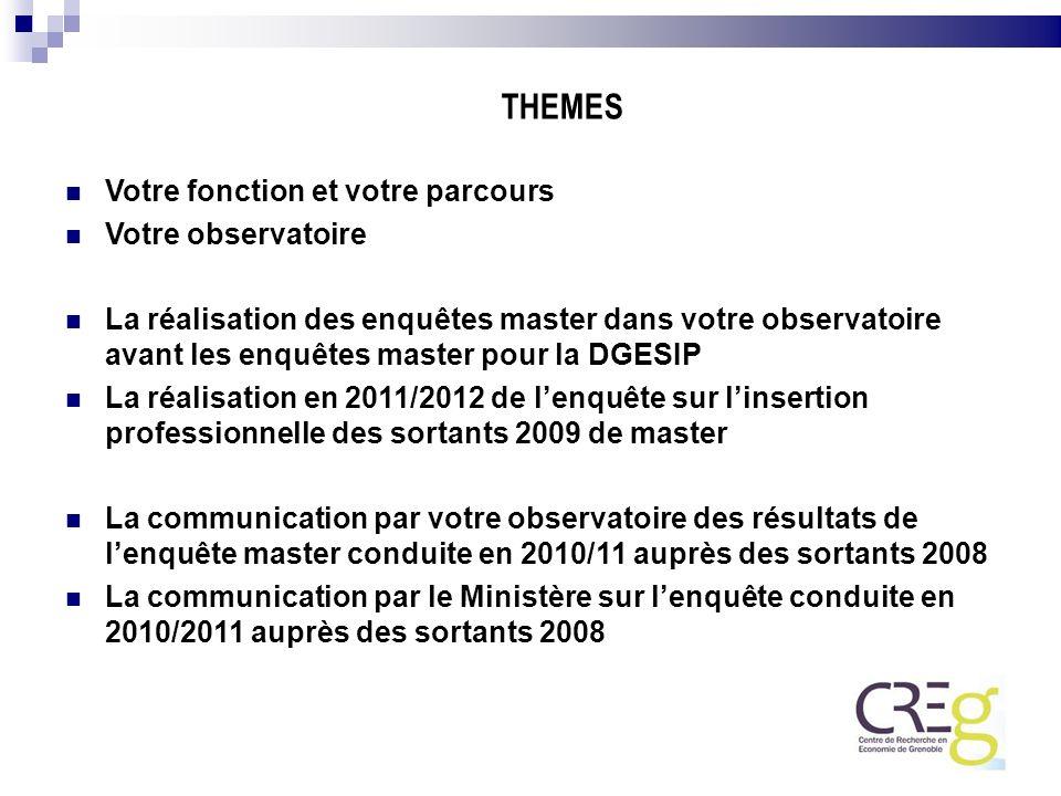 Votre fonction et votre parcours Votre observatoire La réalisation des enquêtes master dans votre observatoire avant les enquêtes master pour la DGESI