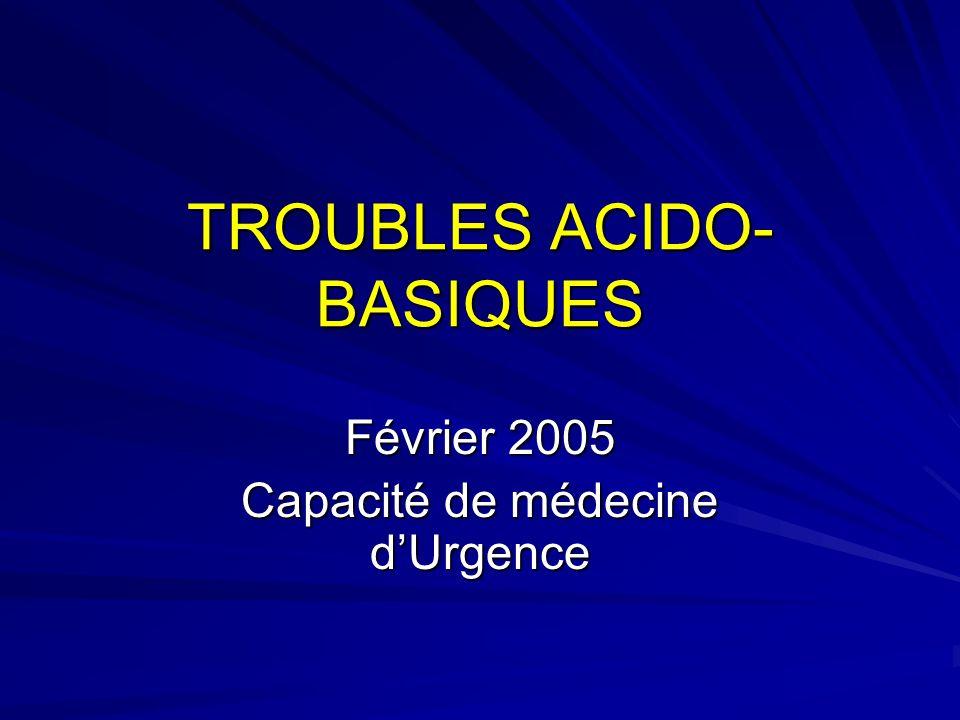 TROUBLES ACIDO- BASIQUES Février 2005 Capacité de médecine dUrgence