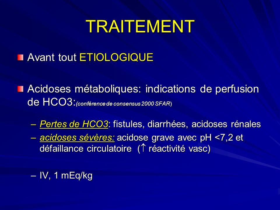 TRAITEMENT Avant tout ETIOLOGIQUE Acidoses métaboliques: indications de perfusion de HCO3: (conférence de consensus 2000 SFAR) –Pertes de HCO3: fistul