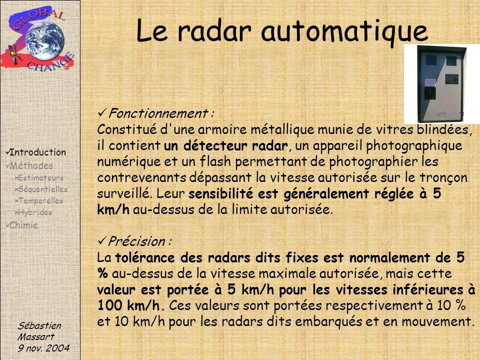Sébastien Massart 9 nov. 2004 Introduction Méthodes Estimateurs Séquentielles Temporelles Hybrides Chimie Le radar automatique Fonctionnement : Consti