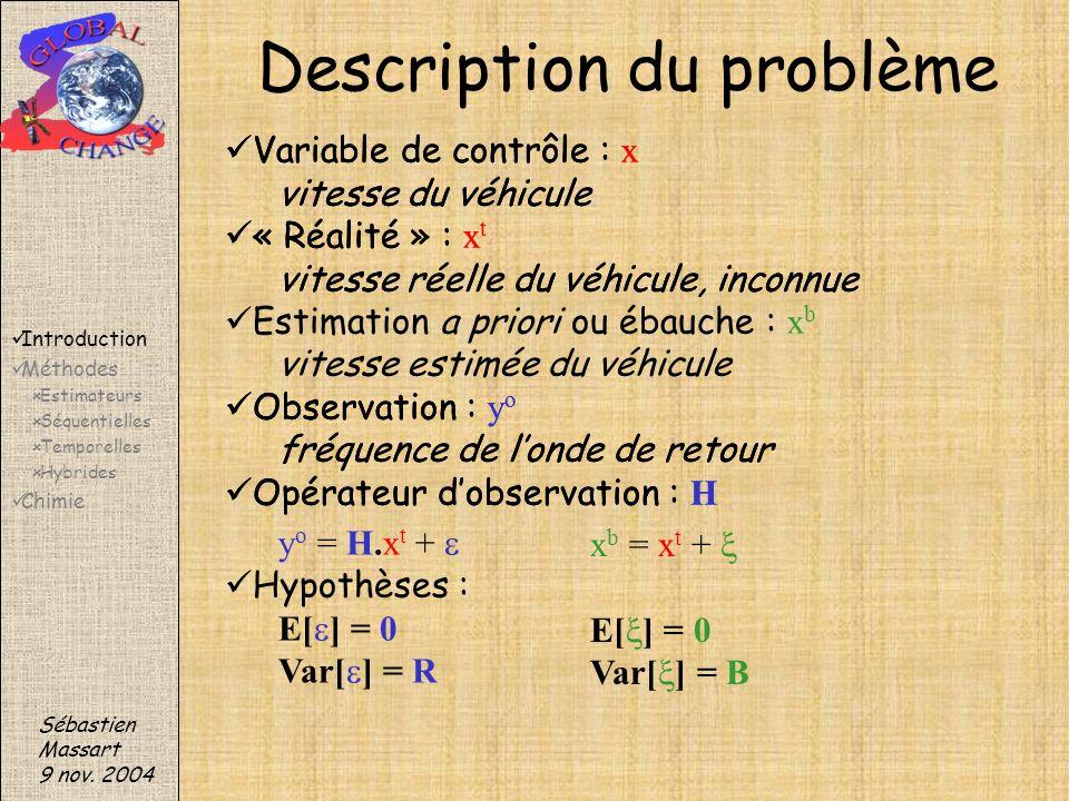 Variable de contrôle : x vitesse du véhicule « Réalité » : x t vitesse réelle du véhicule, inconnue Observation : y o fréquence de londe de retour Opé