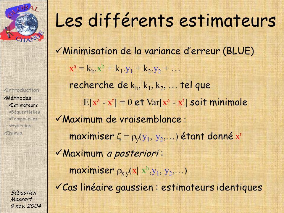 Minimisation de la variance derreur (BLUE) x a = k b.x b + k 1.y 1 + k 2.y 2 + … recherche de k b, k 1, k 2, … tel que E[x a - x t ] = 0 et Var[x a -