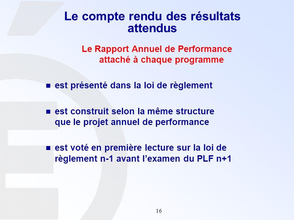 16 Le Rapport Annuel de Performance attaché à chaque programme est présenté dans la loi de règlement est construit selon la même structure que le proj