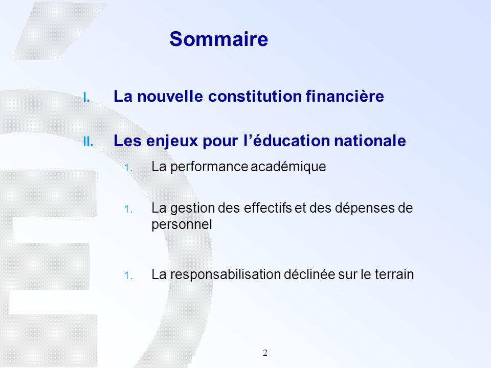2 Sommaire I. La nouvelle constitution financière II. Les enjeux pour léducation nationale 1. La performance académique 1. La gestion des effectifs et