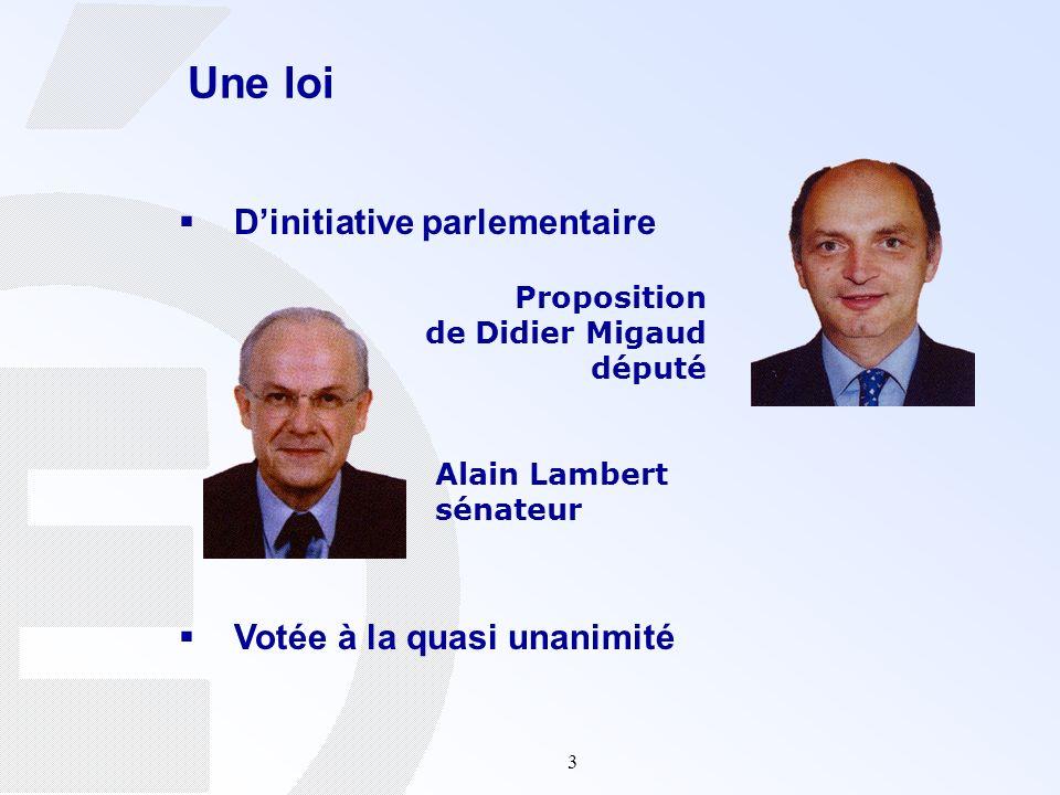 3 Une loi Dinitiative parlementaire Votée à la quasi unanimité Alain Lambert sénateur Proposition de Didier Migaud député