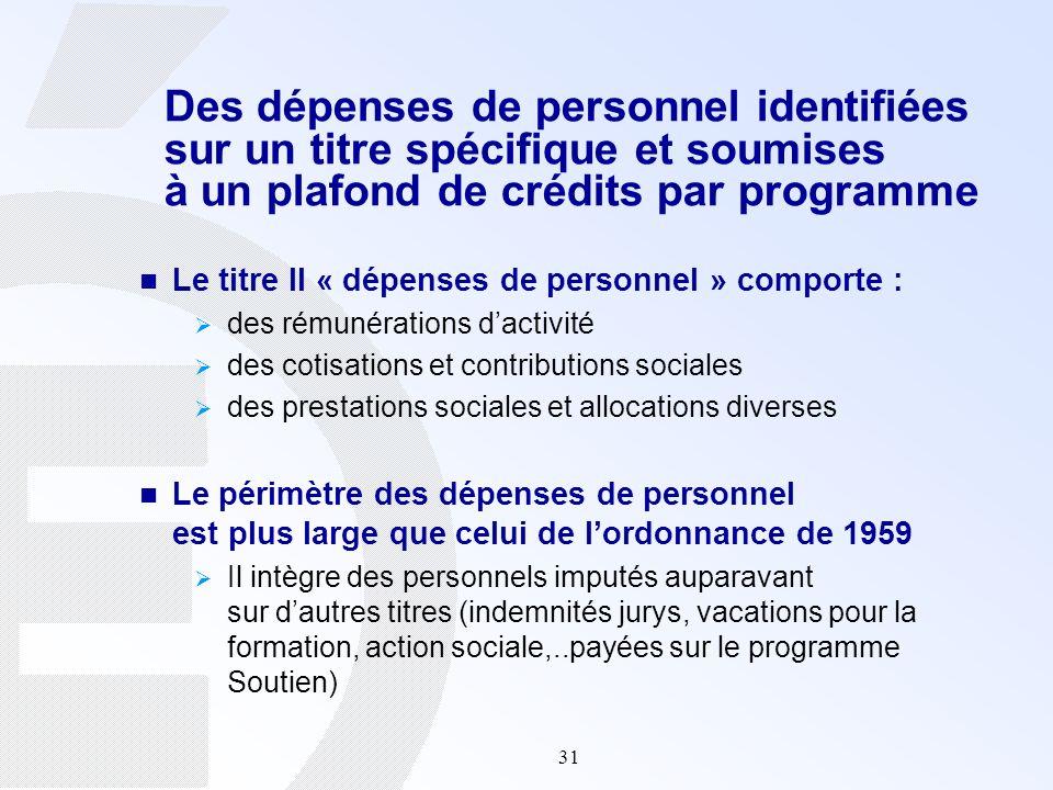 31 Le titre II « dépenses de personnel » comporte : des rémunérations dactivité des cotisations et contributions sociales des prestations sociales et