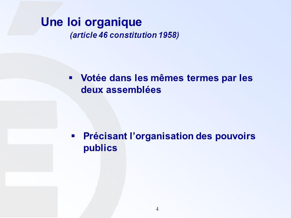 4 Une loi organique (article 46 constitution 1958) Votée dans les mêmes termes par les deux assemblées Précisant lorganisation des pouvoirs publics