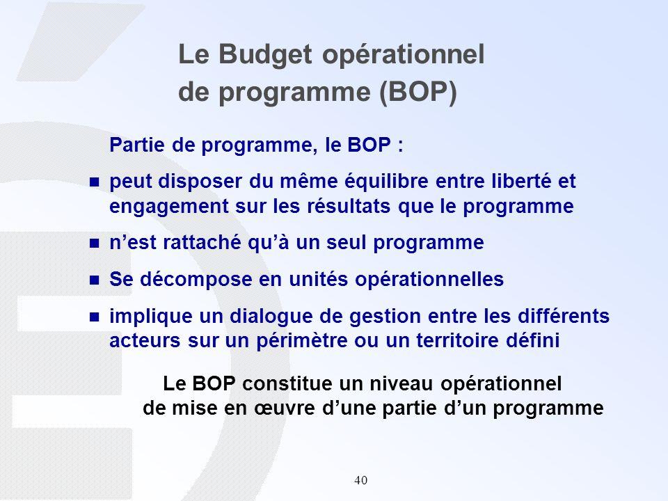 40 Le Budget opérationnel de programme (BOP) Partie de programme, le BOP : peut disposer du même équilibre entre liberté et engagement sur les résulta