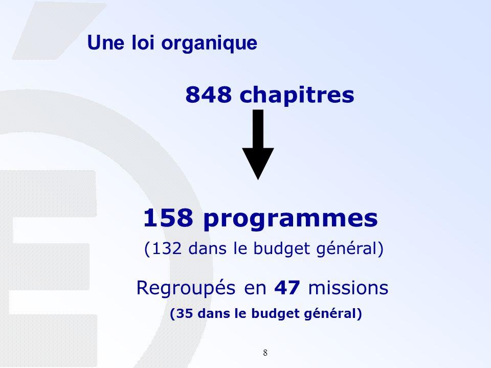 8 Une loi organique 848 chapitres 158 programmes (132 dans le budget général) Regroupés en 47 missions (35 dans le budget général)