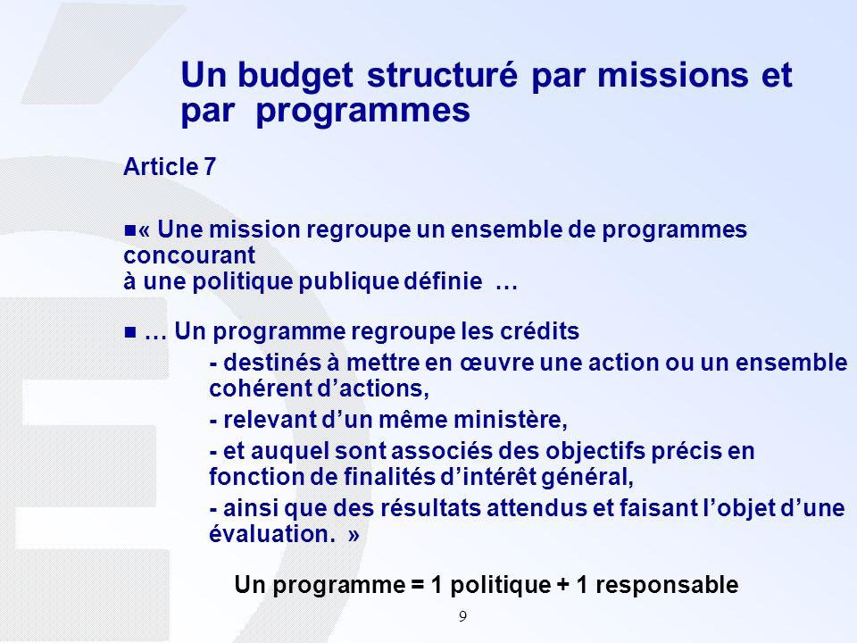9 Un budget structuré par missions et par programmes Article 7 « Une mission regroupe un ensemble de programmes concourant à une politique publique dé