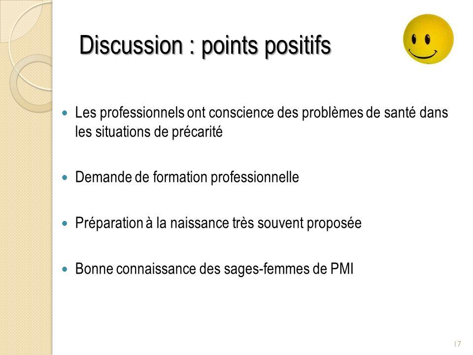 Discussion : points positifs Les professionnels ont conscience des problèmes de santé dans les situations de précarité Demande de formation profession