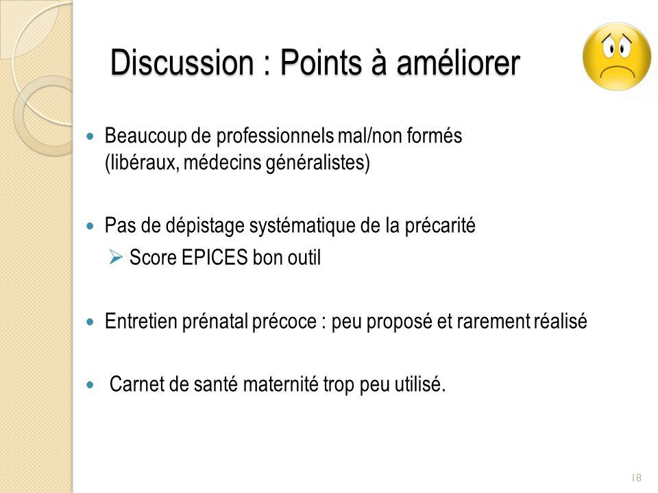 Discussion : Points à améliorer Beaucoup de professionnels mal/non formés (libéraux, médecins généralistes) Pas de dépistage systématique de la précar