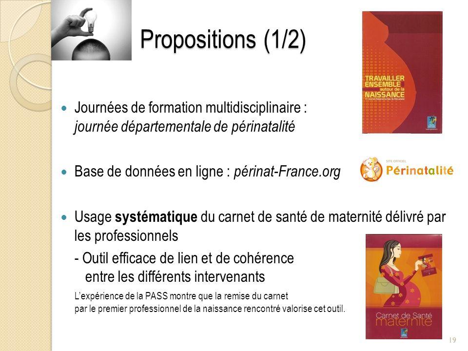 Propositions (1/2) Journées de formation multidisciplinaire : journée départementale de périnatalité Base de données en ligne : périnat-France.org Usa