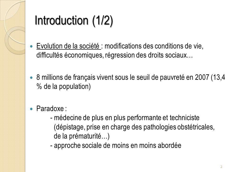 Introduction (1/2) Evolution de la société : modifications des conditions de vie, difficultés économiques, régression des droits sociaux… 8 millions d