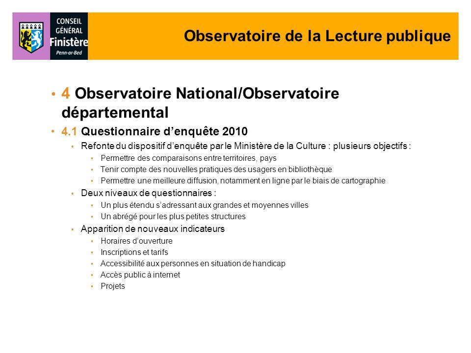 Observatoire de la Lecture publique 4 Observatoire National/Observatoire départemental 4.1 Questionnaire denquête 2010 Refonte du dispositif denquête
