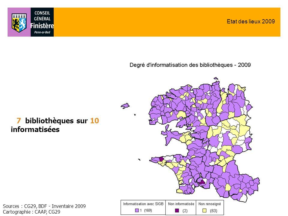 Etat des lieux 2009 Sources : CG29, BDF - Inventaire 2009 Cartographie : CAAP, CG29 7 bibliothèques sur 10 informatisées