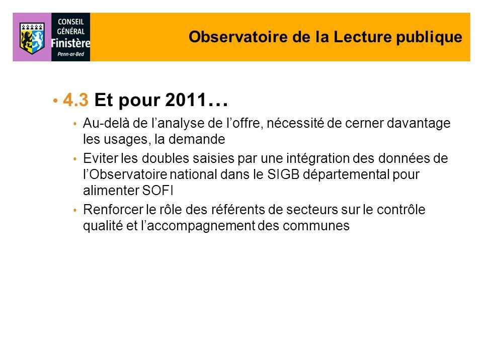 Observatoire de la Lecture publique 4.3 Et pour 2011 … Au-delà de lanalyse de loffre, nécessité de cerner davantage les usages, la demande Eviter les