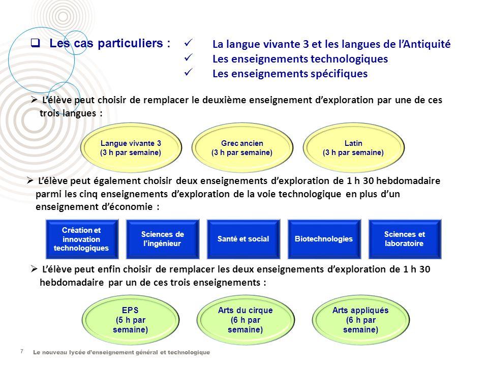 Le nouveau lycée denseignement général et technologique 7 Langue vivante 3 (3 h par semaine) Grec ancien (3 h par semaine) Latin (3 h par semaine) Lél