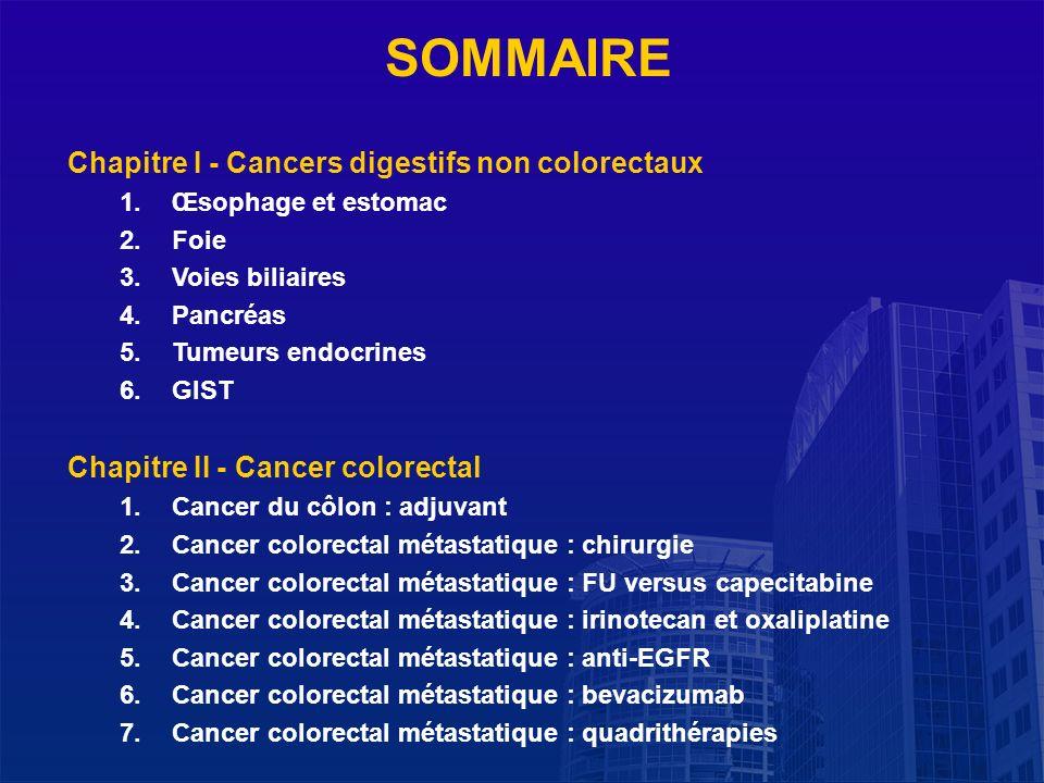 La Lettre du Cancérologue SOMMAIRE Chapitre I - Cancers digestifs non colorectaux 1.Œsophage et estomac 2.Foie 3.Voies biliaires 4.Pancréas 5.Tumeurs