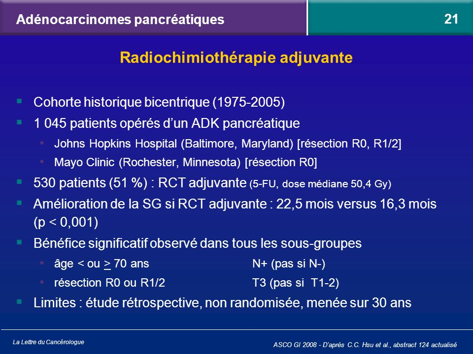 La Lettre du Cancérologue Adénocarcinomes pancréatiques Cohorte historique bicentrique (1975-2005) 1 045 patients opérés dun ADK pancréatique Johns Ho