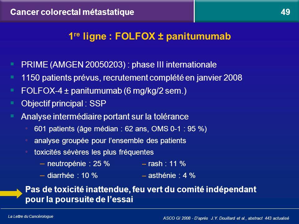 La Lettre du Cancérologue ASCO GI 2008 - Daprès J.Y. Douillard et al., abstract 443 actualisé Cancer colorectal métastatique PRIME (AMGEN 20050203) :