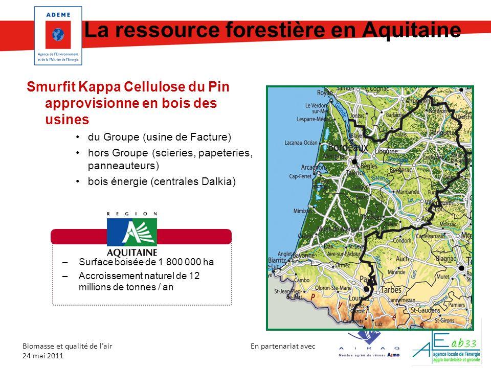 En partenariat avec Biomasse et qualité de lair 24 mai 2011 La ressource forestière en Aquitaine Smurfit Kappa Cellulose du Pin approvisionne en bois